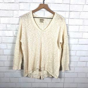 Lucky Brand Crochet Trim Sweater, Button Back
